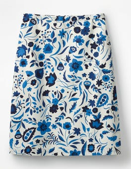 Blues, Folk Print Printed Cotton A-line Skirt