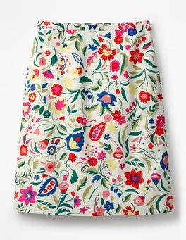 Ivory, Folk Print Printed Cotton A-line Skirt