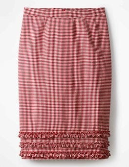 Red Gingham Ava Pencil Skirt