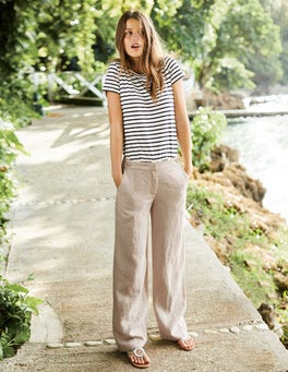 Myra Wide Leg Linen Trousers