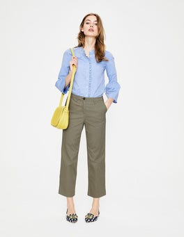 Pale Khaki Rachel Wide Crop Chino Trouser
