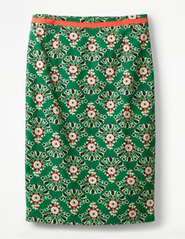 Sap Green, Floral Bouquet Modern Pencil Skirt