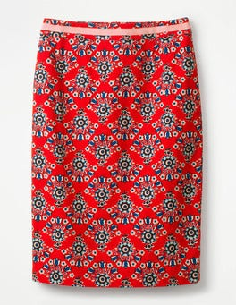 Red Pop, Floral Bouquet Modern Pencil Skirt