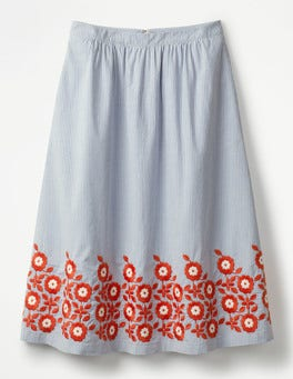 Blue and Ivory Stripe Haidee Embroidered Skirt