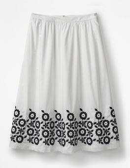 White Haidee Embroidered Skirt