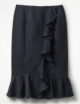 Navy Neve Linen Skirt