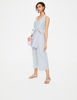 Chambray Blue/Ivory Stripe Wrap Jumpsuit
