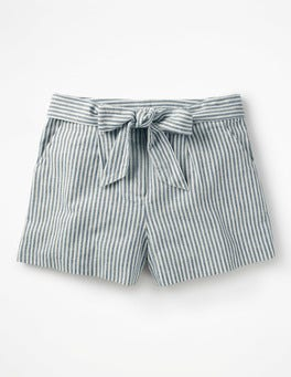 Chambray Blue/Ivory Stripe  Cora Shorts