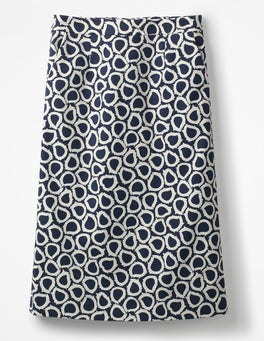 Navy, Summer Leaves Modern A-line Skirt