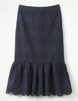 Navy Broderie Skirt