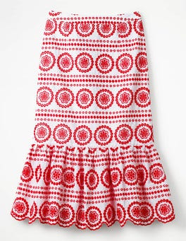 White with Red Pop  Broderie Skirt