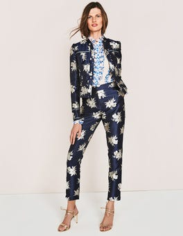 Navy Wild Bloom Mono Mariana Jacquard Jacket