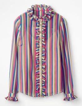 Multi Stripe Kathleen Ruffle Shirt