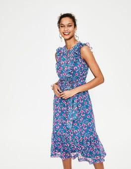 Blau, Tropisches Blumenmuster Elise Kleid