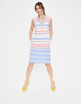 Multi Stripe Linen Notch Neck Dress