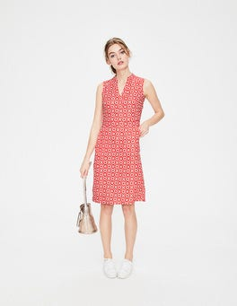 Rosehip Daisy Chain Linen Notch Neck Dress