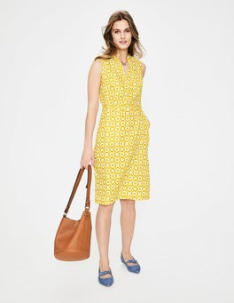 Mimosa Yellow Daisy Chain Linen Notch Neck Dress
