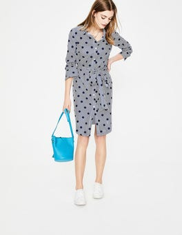 Navy Spot on Stripe Modern Shirt Dress