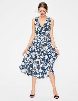 Blue Decadence Floral Allyson Silk Wrap Dress