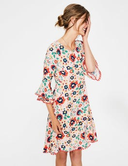 Seashell Tropical Floral Carmen Dress