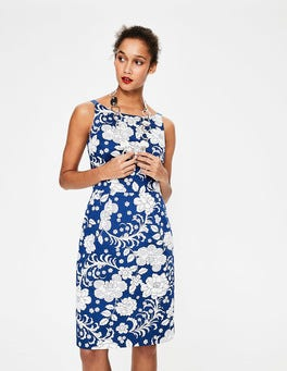 Opulent Blue Tropical Floral Paula Print Dress