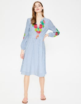 Floral Parrot Embroidery Marla Embroidered Dress