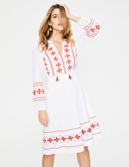 White with Red Pink Embroidery Marla Embroidered Dress