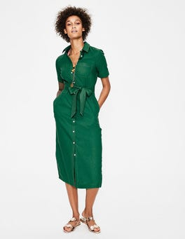 Sap Green Tie Waist Shirt Dress