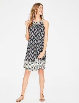 Navy Floral Bouquet Printed Swing Dress