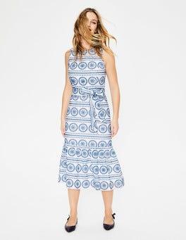 White China Blue Embroidery Broderie Dress