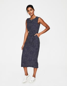 Navy Scattered Spot Camille Midi Dress