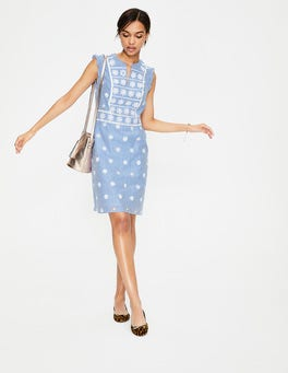 Soft Blue and Ivory Stripe Hotchpotch Broderie Dress