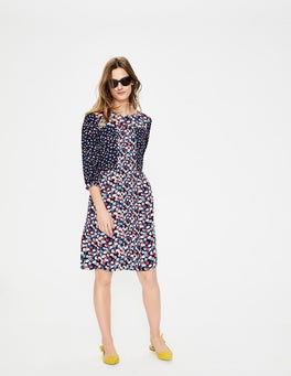 Navy Poppy Meadow Hotchpotch Pintuck Dress