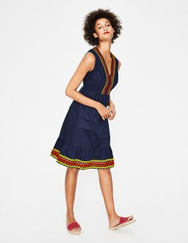 Navy Easy Rickrack Dress