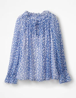 Greek Blue, Pretty Posy Mono Florence Top