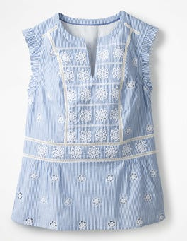 Soft Blue and Ivory Stripe Hotchpotch Broderie Top