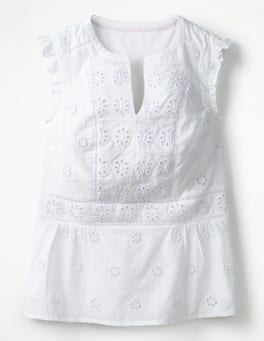 White Hotchpotch Broderie Top