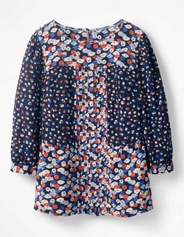 Navy, Poppy Meadow Hotchpotch Pintuck Top
