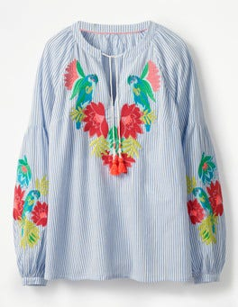 Floral Parrot Embroidery Marla Embroidered Top