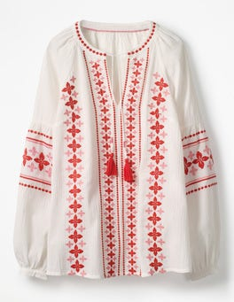 White with Pink/Red Embroidery Marla Embroidered Top