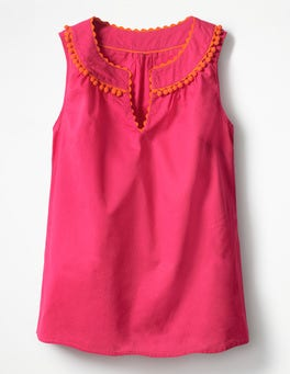 Party Pink Rickrack and Pom Top