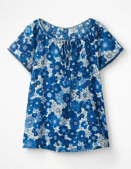 Blues, Swinging Floral Gauzy Beach Top