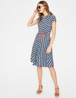 China Blue Flamingo Sophia Shirt Dress