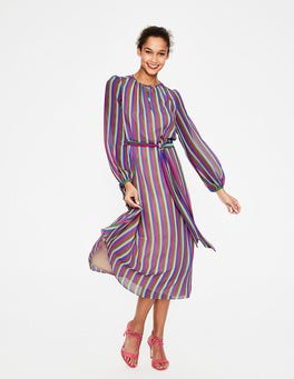 Party Pink Multi Stripe Kathleen Midi Dress