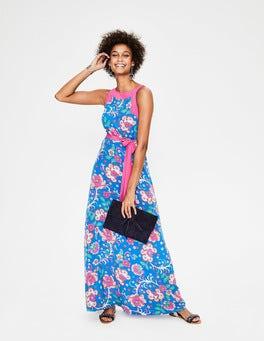 Blau, Tropisches Blumenmuster Averie Seidenkleid