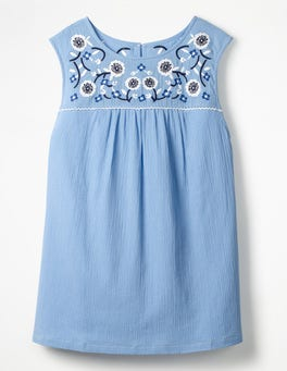 Hazy Blue Portia Embroidered Top