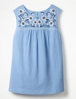 Hazy Blue Portia Embroidered Top