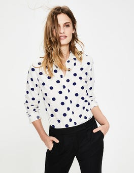 Ivory with Navy Spot The Classic Shirt