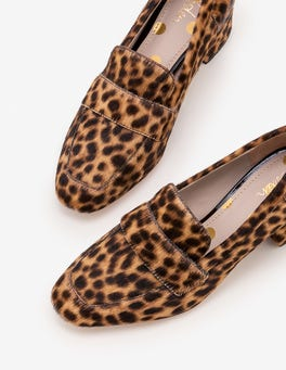 Tan Leopard Alicia Heeled Loafers
