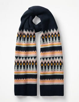 Navy and English Mustard Fair Isle Scarf